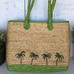 Bags - Straw bag with palm trees and coconuts beach bag